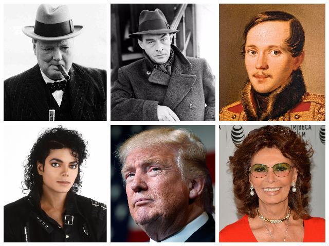 коллаж черчилль, ремарк, лермонтов, майкл джексон, дональд трамп, софи лорен