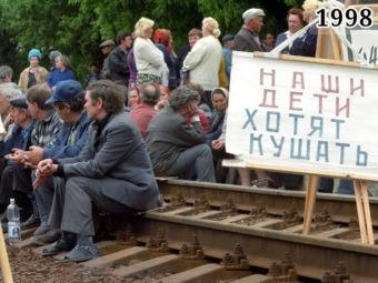 Забастовка шахтеров на рельсах