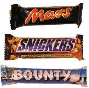 Mars, Bounty, Snickers